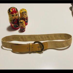 Vintage Tan Leather/Stretchy Raffia Belt - Sz S
